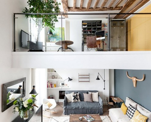 проект однокомнатной квартиры студии в стиле лофт