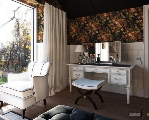 Туалетный столик возле панорманого окна с белыми шторами
