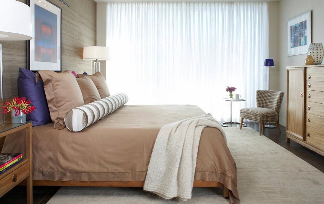 Оттенки бежевого в спальне