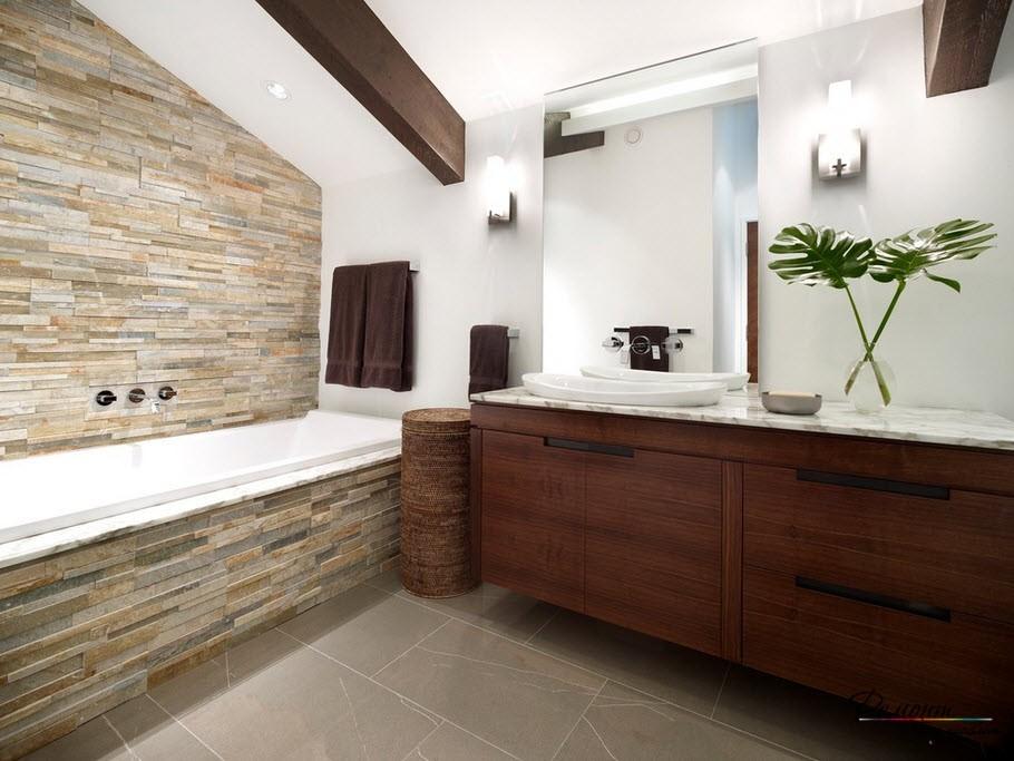 Ванна, облицованная светлым камнем - благородный интерьер