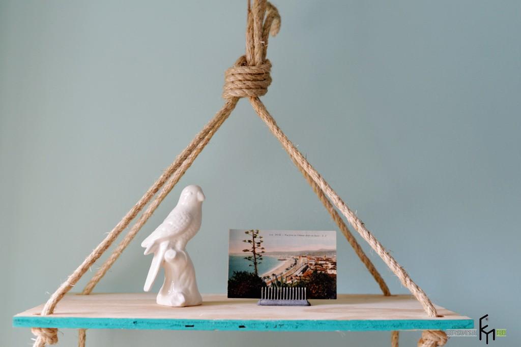 Седьмой этап изготовления полочки на веревках. Первая часть