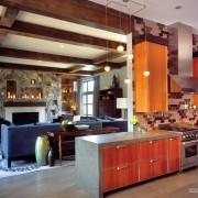 Декоративные балки с студии-кухне