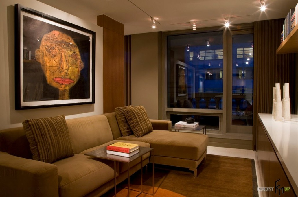 Угловой диван в интерьере гостиной 16 кв.м