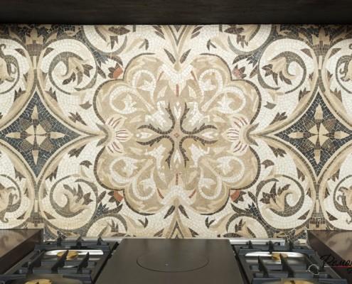 Цветочный орнамент из мозаики