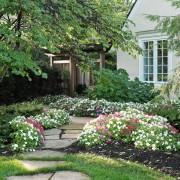 Клумбы с цветами у дома