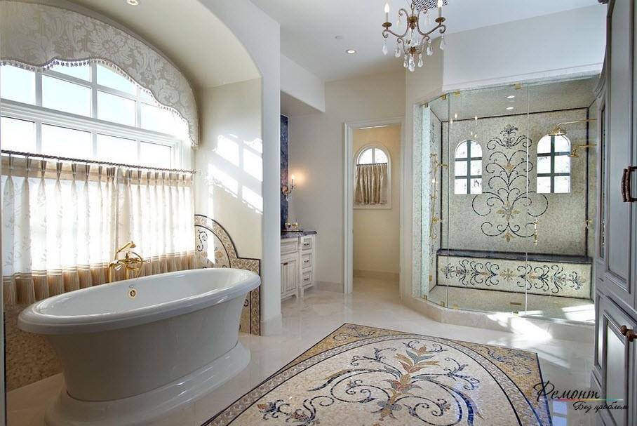 Фреска на полу ванной комнаты