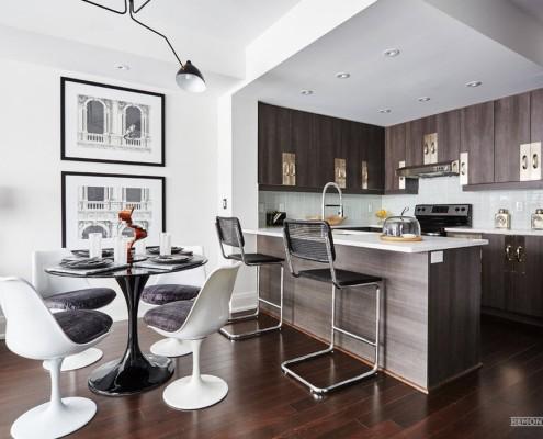 Деление на зоны кухни-гостиной