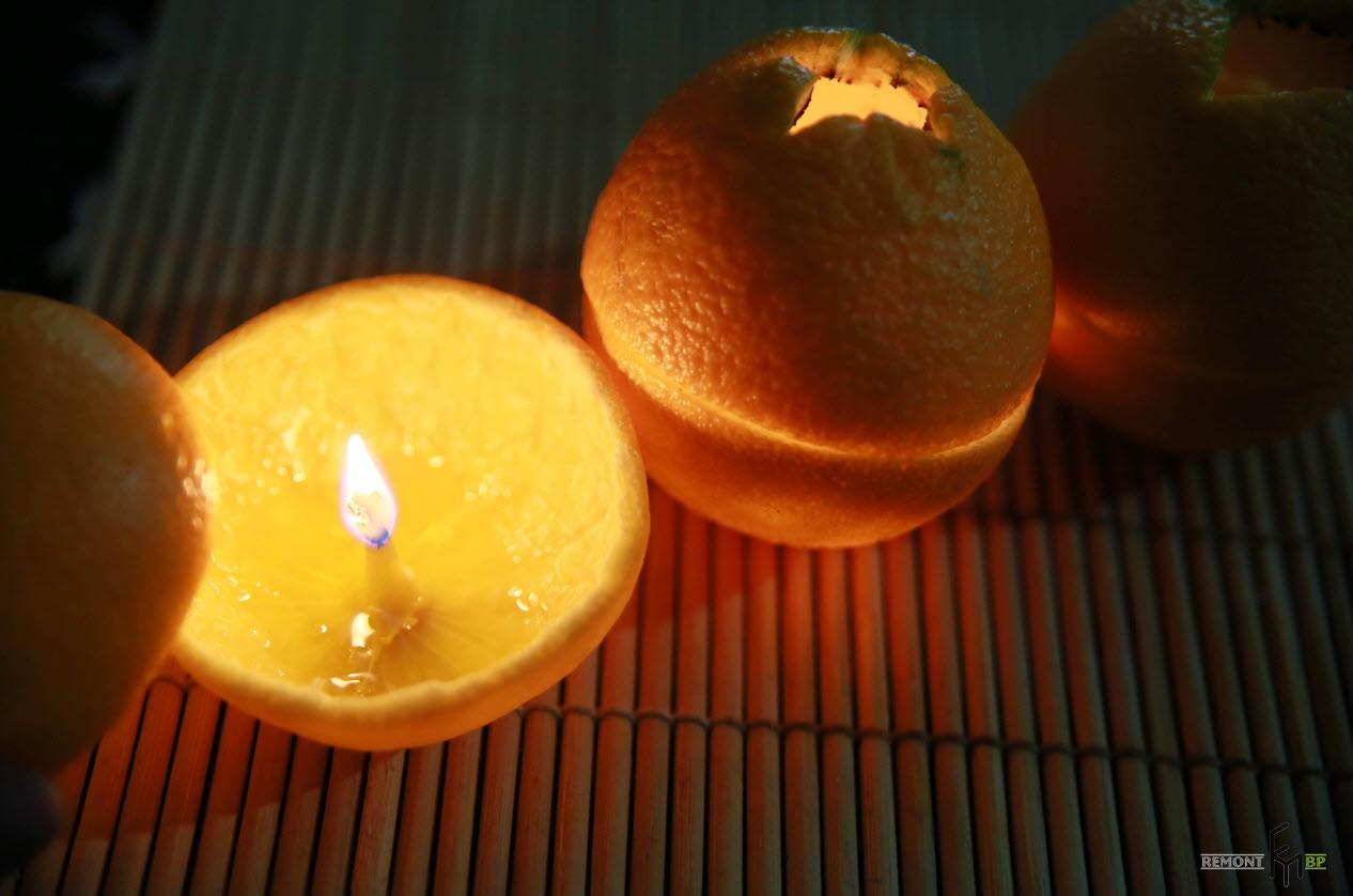 Как сделать свечку из апельсина