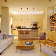Интерьер и дизайн кухни совмещенной с гостиной в частном доме