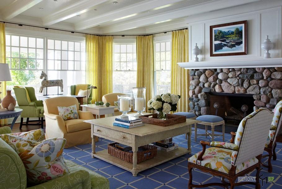Жёлтые шторы в гостиной