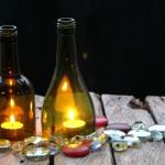 Красивая колба для свечки из стеклянной бутылки своими руками