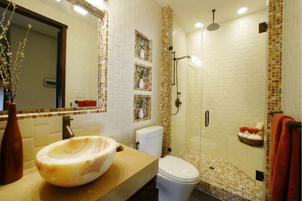 Фото дизайн ванной комнаты с мозаикой и
