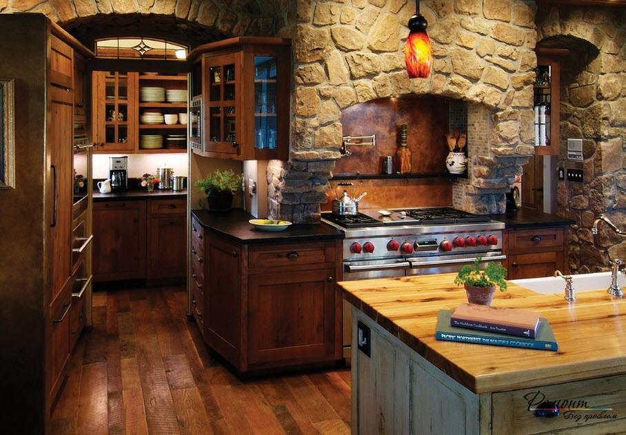 Каменная арка на кухне